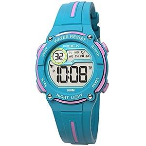 Fibex Mini-Armbanduhr für Kinder, digital, Blau/Pink, wasserdicht, 10 ATM, täglicher Alarm, Datum, Stoppuhr und Silikonband