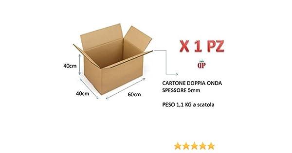 5 PEZZI SCATOLA DI CARTONE DOPPIA ONDA 60X40X40 cm IMBALLAGGIO PER SPEDIZIONI//MAGAZZINO//TRASLOCHI SCATOLONE NEUTRO KSCST24242BC