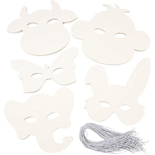 Masques animaux, H : 13-24 cm, 100 asstd, 230 g