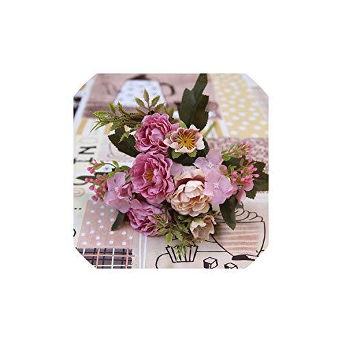 Partei-Dekoration Vintage-Silk künstliche Blumen Kleine Rosen-Hochzeit Fake Flowers Home Decor Bouquet, Lila - Flower Silk Lila Bouquet