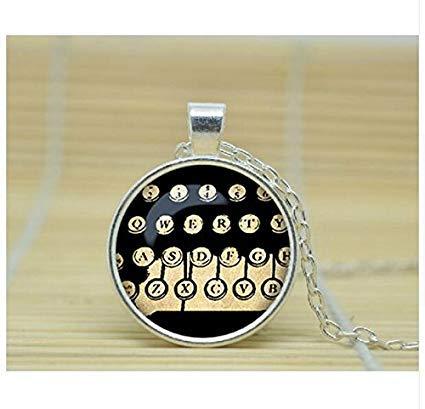 Collar con llaves de máquina de escribir, joyería para escribir en la vieja escuela, regalo para escritor, asistente administrativo, secretario