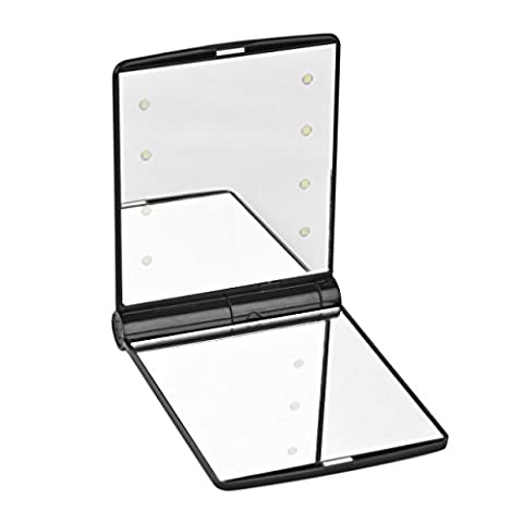 Newcomdigi LED Folding Cosmetic Mirror,Handbag Make Up Mirror Lamps,Adjustable Led Lighted Travel Pocket Mirror,Portable Travel Handheld Magnifying LED Makeup Mirror(Black)