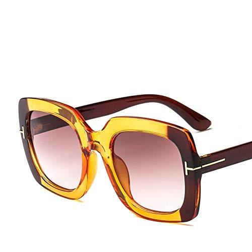 HUOYAN Weinlese-quadratische Sonnenbrille-Frauen-Schutzbrillen-Mens-Spiegel-Sonnenbrille-weiblicher Niet-Schwarz-Eyewear (Lenses Color : 5)