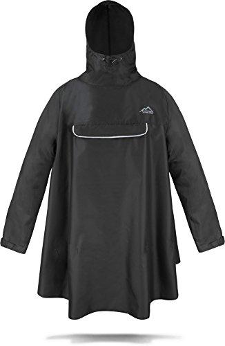 normani Regenponcho mit Ärmeln und Brusttasche für Damen und Herren [S-3XL] -YKK Brusttasche und 3MTM ScotchliteTM Reflektor Farbe Schwarz Größe S/M