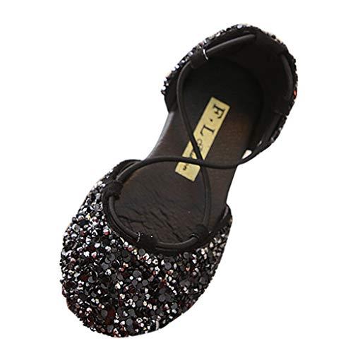 EUCoo_kinder Mädchen Prinzessin Schuhe Pailletten Strass Kreuz Riemen Studenten Tanzschuhe Tasche Füße Sandalen(Schwarz, 24)