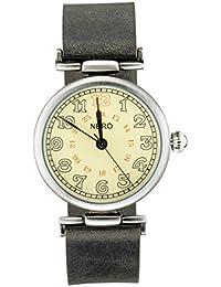 Nero 94Gatsby Unisex color negro correa de cuero reloj de cuarzo