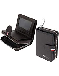 NISUN 12 Slot Leather Debit/ATM/Credit Card Holder Zipper Wallet for Men & Women - Dark Brown