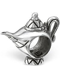 So Chic Joyas - Abalorio Charm La lámpara de Aladdin - Compatible con Pandora, Trollbeads, Chamilia, Biagi - Plata 925