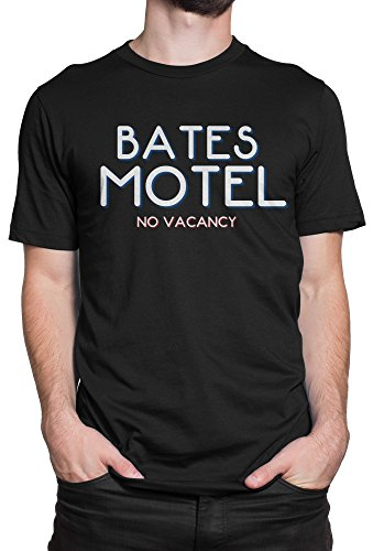 LaMAGLIERIA Camiseta Hombre Bates Motel - No Vacancy Camiseta 100% algodòn, XL, Negro
