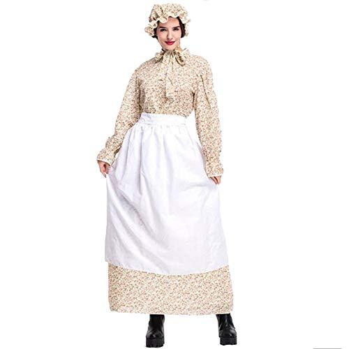 Erwachsene Halloween Vintage Wolf Oma Kostüm Kleid Idyllische Bauernhof Cosplay Bauernhof Rock Großmutter Cosplay Kostüm Khaki