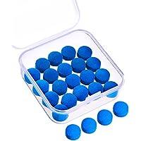 20 Piezas de Puntas de Taco de Billar 10 mm Punteras de Reemplazo con Caja de Almacenaje para Tacos de Billar y Snooker, Azul