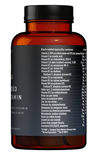 One A Day Advanced Multivitamins with CoQ10 100mg, D3 2000 IU, K2 100mcg, B Complex, Vitamins A 800mcg, Folic Acid as 5-MTHF 400mcg, Zinc 20mg and Lutein in their most absorbable forms at optimal levels based on research based evidence.