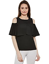 Miss Chase Women's Black Round Neck Sleeveless Solid Ruffled Cold Shoulder Top