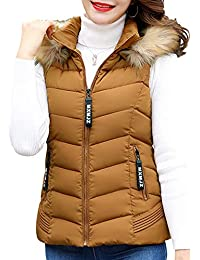 cf16b95edb12 Tenthree Winter Vest Sleeveless Waistcoat Gilet Women - Ladies Warm Quilted  Fur Collar Gilet Cotton Hooded Coats Body Warmer Down…