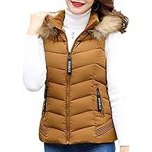 1d4c4fa617e92 Tenthree Sin Mangas Abrigo con Capucha Chalecos Mujer - Señoras Invierno  Cálido Plumas Relleno Ropa Abrigos
