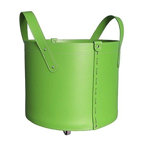 CONTENITORE TN MINI: Coffre de Rangement en cuir régénéré (pas Faux cuir) de couleur Vert, doté de roues gommées.