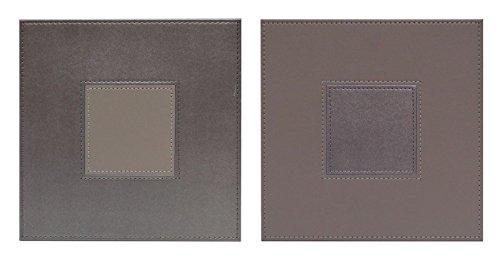 iStyle Lot de 4 simili cuir Stitch Gris carré Sets de table réversibles