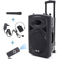"""Enceinte Sono Portable 15""""/38 cm 900W à LED RVB 15 VHF - Haut parleur avec micro sans fil et micro fil et lecteur MP3 (USB SD, chassis ABS, batterie longue durée)"""