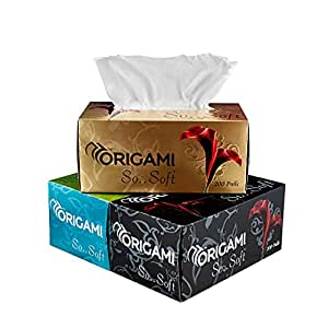 Origami So Soft - 2 Ply Facial Tissue Soft Box Pack | 100% Cellulose Fibre Premium tissues - 200 Pulls per Box - Pack of 3 Boxes - Total 600 Pulls