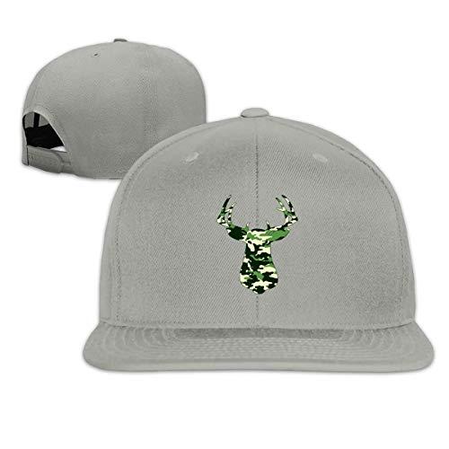 Camouflage Camo Deer Snapback Hat Solid Flat Bill Baseball Caps Men's (Camo Cap Flat Bill)