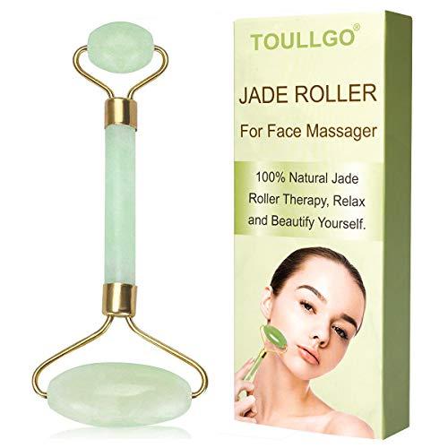 Jade Roller, Rullo di Giada, Jade roller Massager, Rullo di Giada Massaggiatore Facciale, 100{48072fc638e4c279c1c51cc4e3995d8b20f2e1d02587559ce2467c803e3ed7e9} naturale massaggio con rullo di pietra di giada con doppia sfera, Riduci il gonfiore