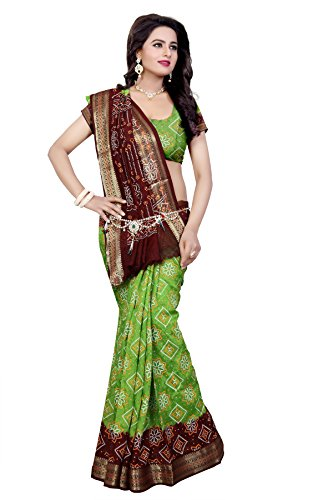 Bandhani(Divine International New Plain Border art silk Bandhani) (Green-Borwn)