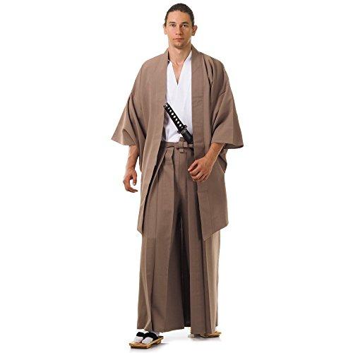Set 3 Teile Kendo Gi + Hakama + Haori Baumwolle M L XL (Beige & Weiß) (Traditionelle Japanische Kostüme)