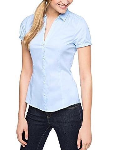 ESPRIT Collection Damen Regular Fit Bluse 996EO1F900, Gr. 44, Blau (Pastel Blue 435)