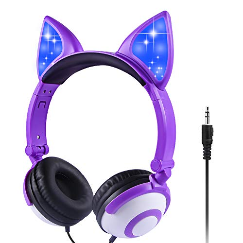 Sunvito Cuffie per bambini, Orecchie di gatto incandescente a LED, Cuffie Over Ear con jack Aux da 3,5 mm Volume...