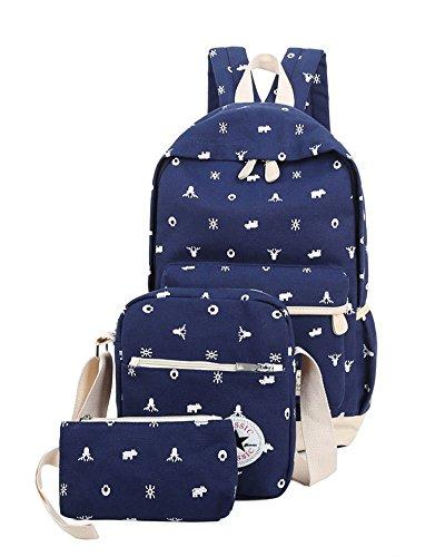 YiLianDa Bambini Borsa Tela Zaino Casual Scuola Zaini Donna Ragazza Canvas Backpack Zainetto 3 in 1 Blu