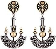 VOYLLA Cleopatra Ankh Motif Drop Earrings, Silver, 8905124073348, Free Size
