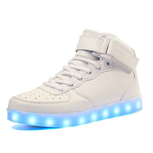 Maniamixx high-top carica scarpe con led luminosi sneakers per bambino ragazzi ragazze(bianco,33 eu)