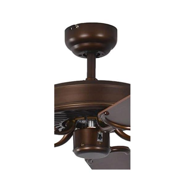 aspas reversibles color caoba con insertos de rat/án Pepeo Potkuri ventilador de techo sin luz para habitaciones de hasta 25 m/² carcasa de bronce viejo 132 cm