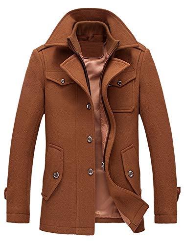 ke Epaulet Design Wollmischung Faux Twinset Jacke Lederjacke Langer Blazer Turndown Stand Plus Size Hooded Zum Tragen jederzeit geeignet (Color : Brown-L) ()
