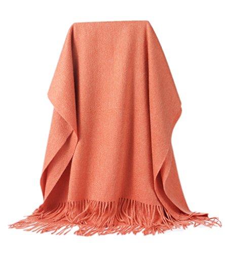 Prettyland - xl plaid sciarpa di lana 100% cashmere lunga pesante per donne uomo unisex caldo e morbido tinta unita poncho stola - arancione