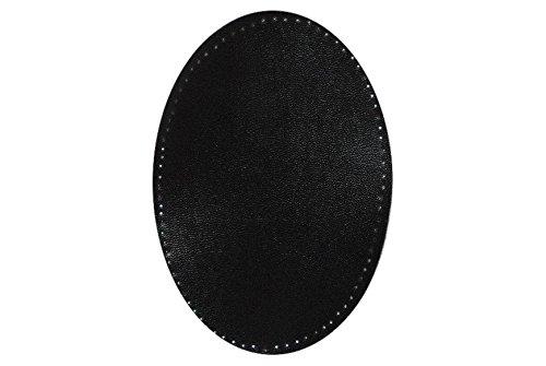 alles-meine.de GmbH ovaler Flicken - schwarz Leder 9,6 cm * 14,4 cm zum Aufnähen - Aufnäher...