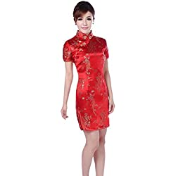 1f92cb9f80 Hzjundasi Mujer Tradicional Chino Dragón Fénix Impreso Brocado Qipao Vestido  de Noche Mangas Cortas Cheongsam M