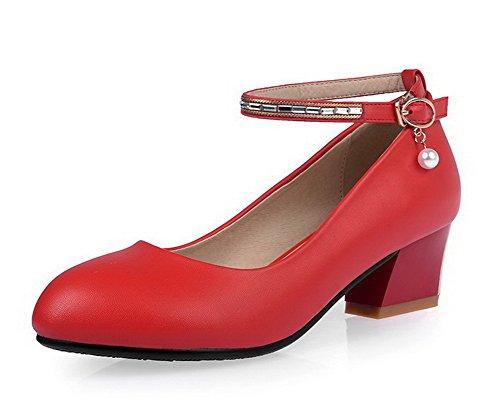 AgooLar Femme Rond Boucle Matière Mélangee Mosaïque à Talon Correct Chaussures Légeres Rouge