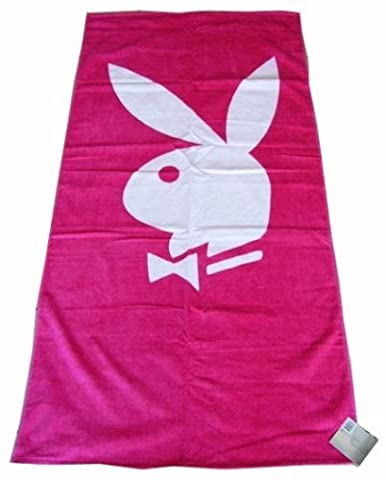 100% Cotton Playboy Classic Printed Beach Towel Hot Pink