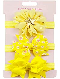 K-youth® 3 Pcs Diademas Bebé Arco del pelo de la venda elástico Bebé Cinta Para El Pelo Infantil Algodón Sólido Mariposa Niñas Banda Para La Cabeza Diadema (Amarillo)