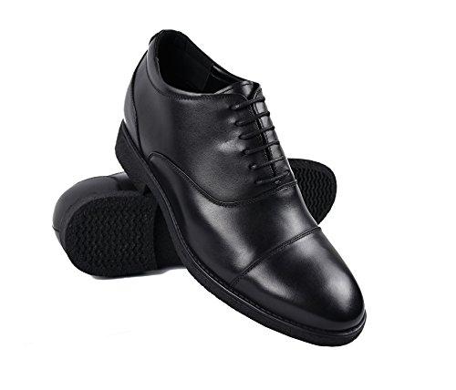 Zerimar Zapatos con Alzas Interiores de 7 Cm Calzado de Piel Estilo Elegante Zapatos Boda Hombre Color Negro Talla 39