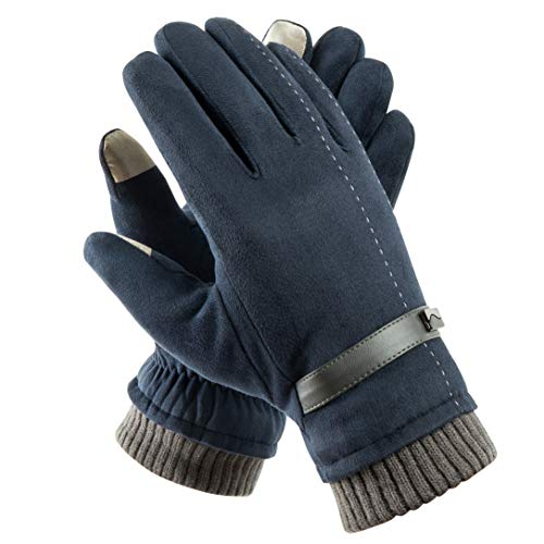 Acdyion Handschuhe Winter Damen Touchscreen Wildleder super weiche Handschuhe Outdoor Fahrradhandschuhe dickes Fleecefutter Wildlederhandschuhe (Blau)