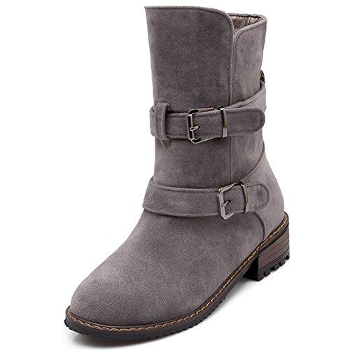 TAOFFEN Damen Elegante Flache Schuhe der spitzen Zehe Wölbungsbügel -Dating Hälfte Marder Stiefel mit kurzen Plüsch Grau