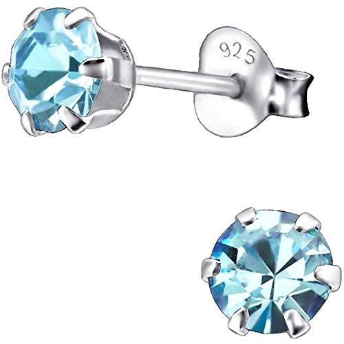 EYS JEWELRY runde Damen Ohrstecker 925 Sterling Silber mit funkelnden Zirkonia in aquamarin-blau 5 mm Damen Ohrringe - Aquamarin Ohrstecker Runde