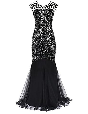 Kayamiya Damen Gatsby Kleid 1920er Perlen Pailletten Maxi Lange Charleston Meerjungfrau Abendkleid 36-38 Schwarz