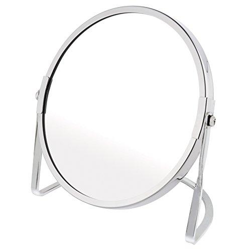 Axentia 116921Espejo Cosmético, accesorio baño y espejo, mesa decorativa para cocina y hogar, espejo con pie de metal de alta calidad, espejo como decoración con ampliación, aprox. 16x 9x 17cm, diámetro Espejo superficie aprox. 15cm, cromado