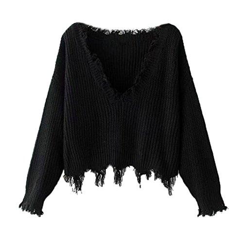Ls Pullover Top (Vovotrade Frauen Herbst Winter V-Ausschnitt Casual Langarm Stricken Pullover Tops Bluse (Free Size, Schwarz))