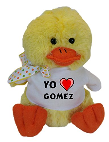 Pato de peluche (juguete) con Amo Gomez en la camiseta (nombre de pila/apellido/apodo)