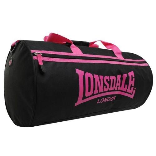 Lonsdale-Bolsa De deporte con bandolera, diseño De Londres, color negro y rosa