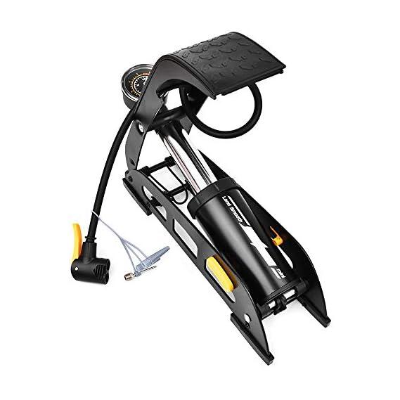 Jukkre Floor Foot Bike Air Pump, Fast Inflating Portable Bicycle Pump High Pressure Air Inflator Fit Schrader Presta Valve with Accurate Gauge for MTB Road Bike Motorcycle Car Balls